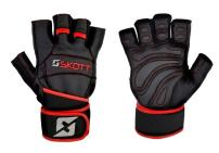 skott Predator Evo 2 Weight Lifting Gloves - Real Leather - Double Wrist Wrap Support - Double Stitching for Extra Durability - The Best Body Building Fitness and Exercise Accessories