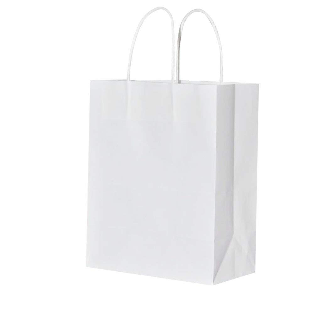 Sturdy Medium White Gift Paper Bags with Handles Bulk, Bagmad Kraft Bags 8x4.75x10 inch 50 Pcs Pack, Craft Grocery Shopping Retail Party Wedding Bags Sacks (White, 50pcs)