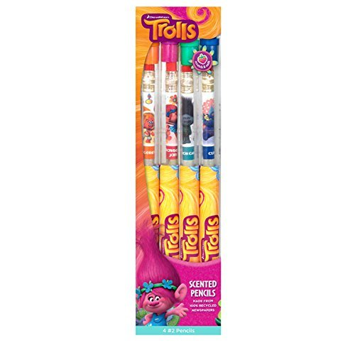 DreamWorks Trolls Smencils (4-Pack of Scented Pencils - Made from Recycled Newspaper)