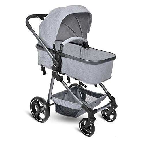 B BAIJIAWEI Convertible Stroller Bassinet - Baby Bassinet Stroller - Newborn Carriage Stroller - Lightweight Reclining Stroller with Adjustable Canopy, Reversible Seat, Lockable Rear Wheels
