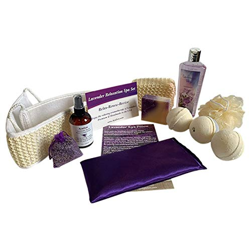 AyaZen Aromatherapy Bath and Body Gift Set-AyaZen Lavender Eye Pillow, Bath Bombs, Natural Soap, Lavender Room & Linen Spray, Lavender Sachet and More. Made In USA