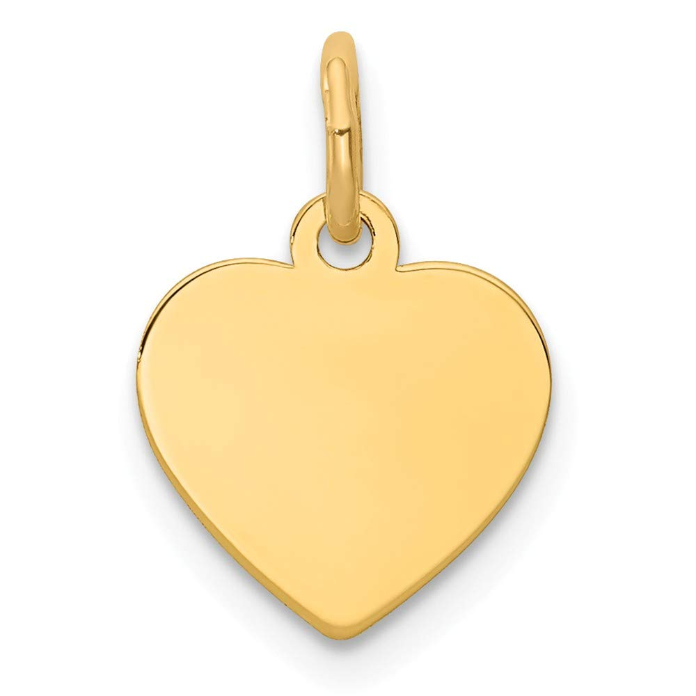 14k Yellow Gold .027 Gauge Engravable Heart Disc Pendant Charm Necklace Simple Shaped Plain Fine Jewelry For Women Gifts For Her