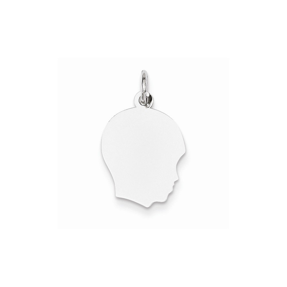 14k White Medium.035 Depth Facing Right Engravable Boy Pendant Charm Necklace Disc Girl Head Fine Jewelry For Women Gifts For Her