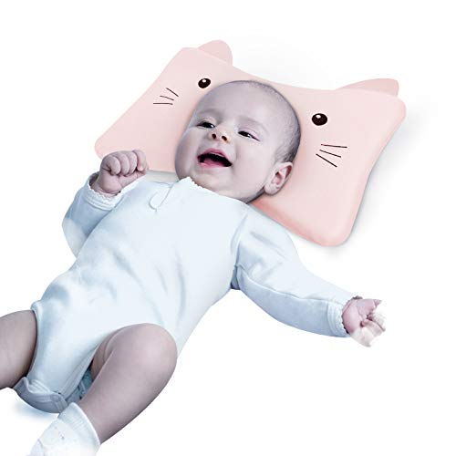 Baby Pillow for Newborn Sleeping Pillow with Pillowcase, 3 in 1 Detachable Toddler Pillow 0-6 Years Old Memory Foam Baby Pillows for Sleeping, Protection for Flat Head Syndrome Bambi (Pink)