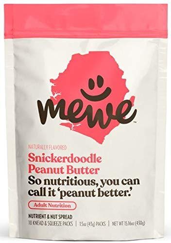 MeWe Adult Nutrition   Healthy Peanut Butter Snacks, Snickerdoodle   Meal Supplement Food (10-count)