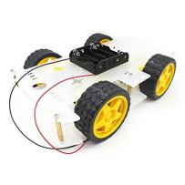 YIKESHU 4WD 2 Layer Smart Robot Car Chassis Kit with Speed Encoder Battery Box for Kids Teens DIY