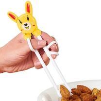 Baby Children Beginner Learning Flatware Anti-Slip Right Handed Traning Helper Chopsticks (Blue)