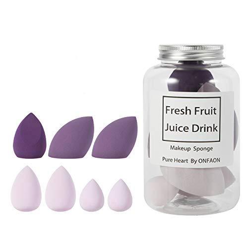 Makeup Sponge Blender Set in Different Colors, Beauty Foundation Blending Sponge Water Drop/Tear Drop Makeup Sponges Multipurpose 7 Pieces (Purple)