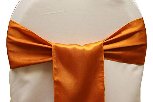 mds Pack of 50 Satin Chair Sashes Bow sash for Wedding and Events Supplies Party Decoration Chair Cover sash -Brunt Orange