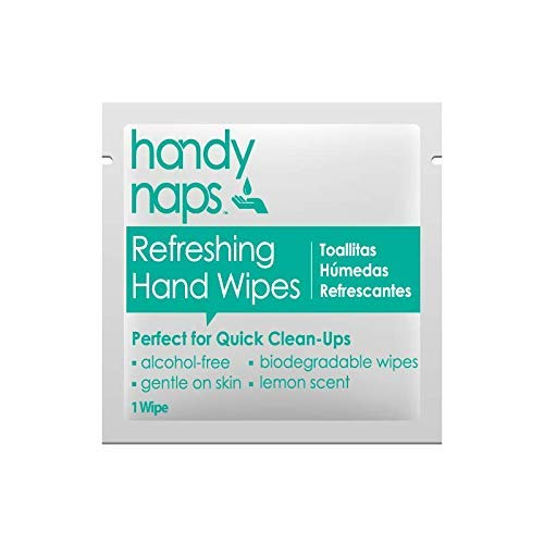 Handynaps Pre-Moistened Refreshing Hand Cleaning Wet Wipes, No Alcohol, for General Cleaning Purpose, Individually Wrapped Bulk Buy 1000 Count