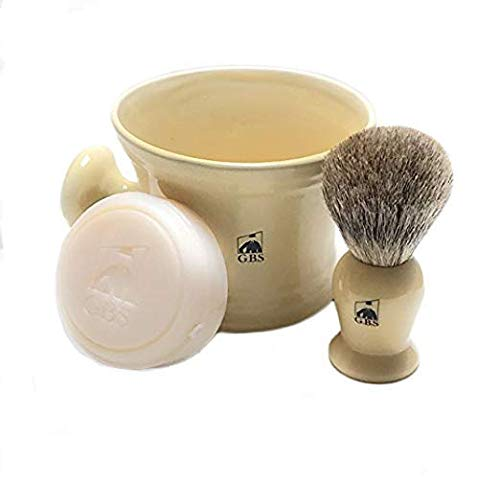 GBS Men's Wet Shaving Set Ivory -3 Piece set - Pure Badger Hair Shaving Brush, Ceramic Mug and 97% All Natural Shave Soap Compliments any Shaving Razor For The Best Shave Great Gift Men