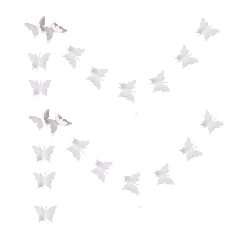 zilue Butterfly Banner Decorative Paper Garland for Wedding, Baby Shower, Birthday & Theme Decor 110 Inches Long Set of 2 Pieces White