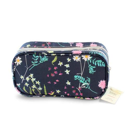 Tonic Australia Medium Make Up Bag Whimsy Ink Double Zipper, Two Sections