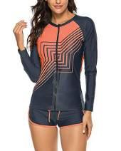 Wolddress Women 2 Piece Long Sleeve Zip Front Surf Rashguard Swimsuit Tankini Set Geometry Black Orange 1X