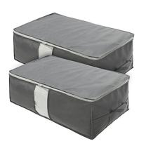 Surblue Under-Bed Storage Organizer Zipper Bags Large Capacity with Handle Clear Window (Gray)