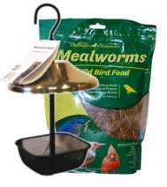 Wildlife Sciences Mealworms and Bird Feeder Combo | 7 oz Bag of Mealworms and 5 x 5 inch Powder Coated Mesh Bowl with Adjustable Roof