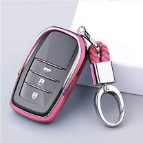 ontto Soft TPU Rubber Key Fob Cover Case Smart Remote Entry Keycase Shell Holder Jacket Skin Keychain Key Ring Fit for Toyota Hilux Fortuner Cruiser Rav4 Pink