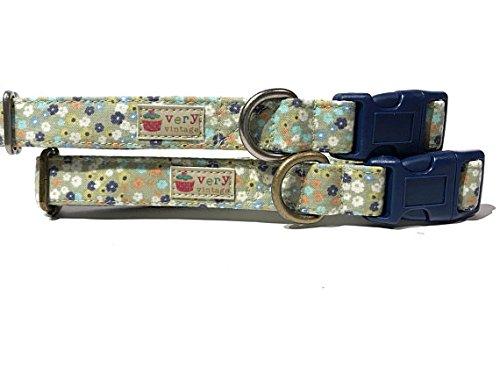 Very Vintage Design Sage Bouquet Dog Cat Collar Sage Green Blues Floral Flowers Organic Cotton Personalized Adjustable Pet Bandana