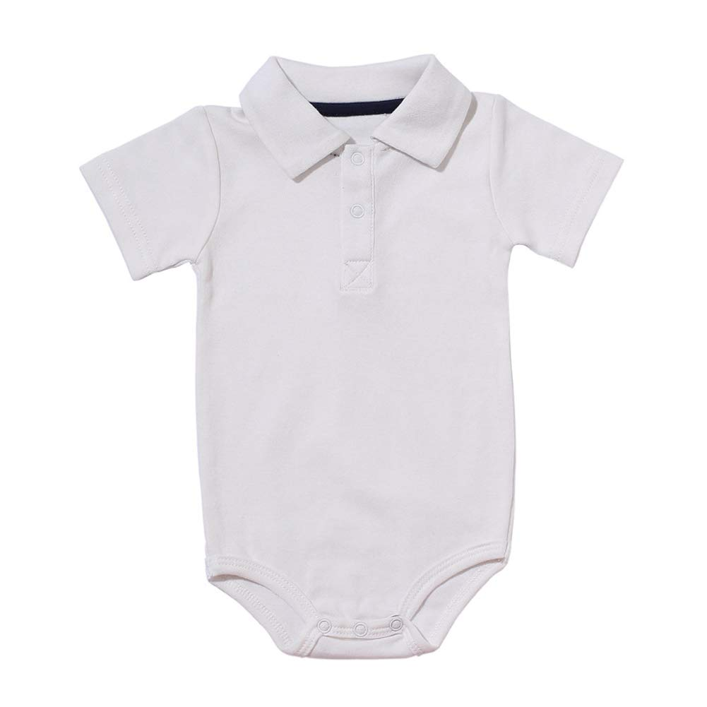 Baby Boys Pure Color Cotton Short Sleeve Polo Bodysuit 3-24 Months (24 Months, White)