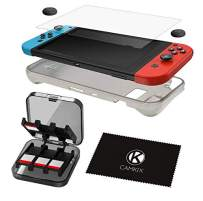 CamKix Storage and Protection Kit Compatible with Nintendo Switch: Silicone TPU Cover, Anti Scratch Screen Protector, Storage Case for 24 Game Cards, Thumb Grip Covers, Cleaning Cloth