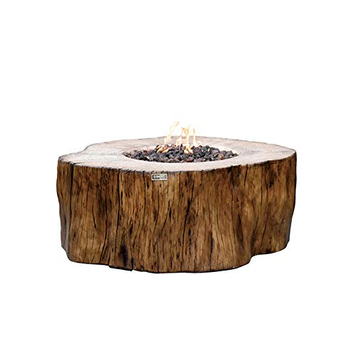 Elementi Manchester Natural Gas Fire Table, 42 x 39 x 17 in. Cast Concrete Fire Pits & Outdoor Fireplaces Redwood Stump Shape - 304 Stainless Steel Burner - Canvas Cover and Lava Rock Included