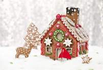 Laeacco Gingerbread House Backdrops 10x8ft Merry Christmas Photography Background Snow Scene Abstract Bokeh Shiny Halos Baby Girl Children Photo Background Studio Props