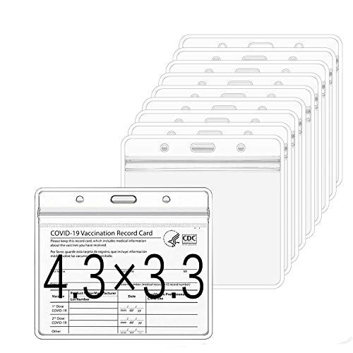 Vaccine Card Protector for Vaccination CDC Immunization Card Holder 4.3 X 3.3 Clear Plastic Record Vaccine Card Sleeves Waterproof Name Badge Holder ID Card Holder (10)