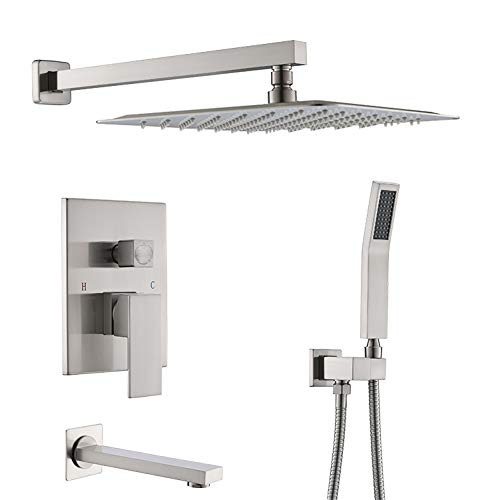 """STARBATH Shower System, Brushed Nickel wall Mount Shower Faucet Set with Tub Spout and 10"""" Shower Head, Contain Shower Faucet Rough-in Mixer Valve, Shower Combo Set for Bathroom"""