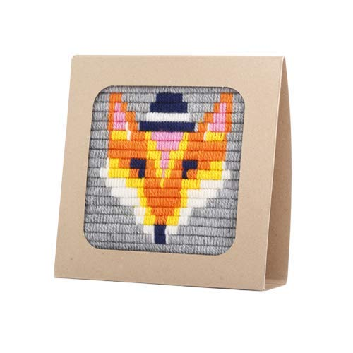 """Sozo - Colorful DIY Needlepoint Embroidery Craft Kit for Beginners. Eco Friendly Package That Turns into a Display Frame, Easier Than Cross Stitch. Size - 8"""" x 8"""" (Fox)"""