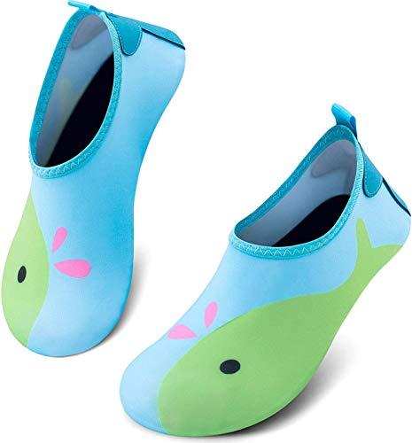 PIZOFF Toddler Kids Water Shoes Non-Slip Quick Dry Water Skin Barefoot Aqua Socks for Beach Swim Walking Whale AM160-03-28/29