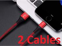 2 Pack Nylon Braided Lightning Cable, iFlash 1 Foot Travel Size Fast Charging and Sync Charger for Apple iPhone Xs/XS Max/XR/X / 8/8 Plus / 7 Plus / 6S/6 Plus/SE/ 5, iPad Pro Air Mini 1/2/3/4/5 (Red)