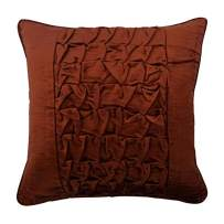 The HomeCentric Luxury Rust Throw Pillows Cover, Textured Knotted Pintucks Solid Color Pillow Cover, 14x14 inch (35x35 cm) Pillow Case, Square Velvet Pillowcase, Solid Modern - Rusty Knots