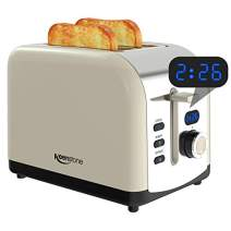 Toaster 2 Slice, Keenstone Stainless Steel Retro Toaster with Timer, Wide Slot, Defrost/Reheat/Cancel Fuction, Removable Crumb Tray, Cream
