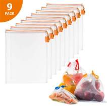 """Vandoona Reusable Mesh Produce Bags, Eco Friendly Washable TRANSPARENT Strong Premium Mesh for Fruits & Veggies Grocery Shopping, (9, 9 Mediums (12"""" x 14""""))"""