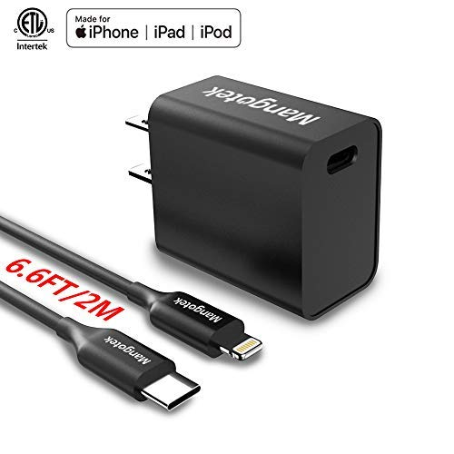 Mangotek USB C Power Delivery Wall Charger with 6.6ft Type C to Lightning Cable MFi Certified, PD Fast Charging Kit Ultra-Compact Power Port Compatible with iPad Air/Mini/Pro, iPhone Xs/XS Max/XR