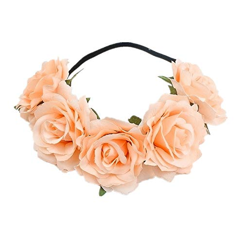 Edary Rose Flower Crown Wedding Floral Wreath Garland with Elastic Rope Hair Band Rose Hair Accessories for Women and Girls(1PC) (Champagne)