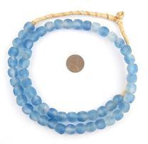 African Recycled Glass Beads - Full Strand Eco-Friendly Fair Trade Sea Glass Beads from Ghana Handmade Ethnic Round Spherical Tribal Boho Krobo Spacer Beads - The Bead Chest (11mm, Blue Swirl)