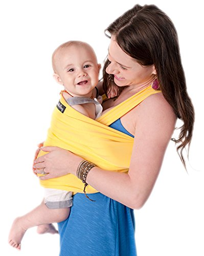 9-in-1 CuddleBug Baby Wrap Sling + Carrier - Newborns & Toddlers up to 36 lbs - Hands Free - Gentle, Stretch Fabric - Ideal for Baby Showers - One Size Fits All (Yellow)