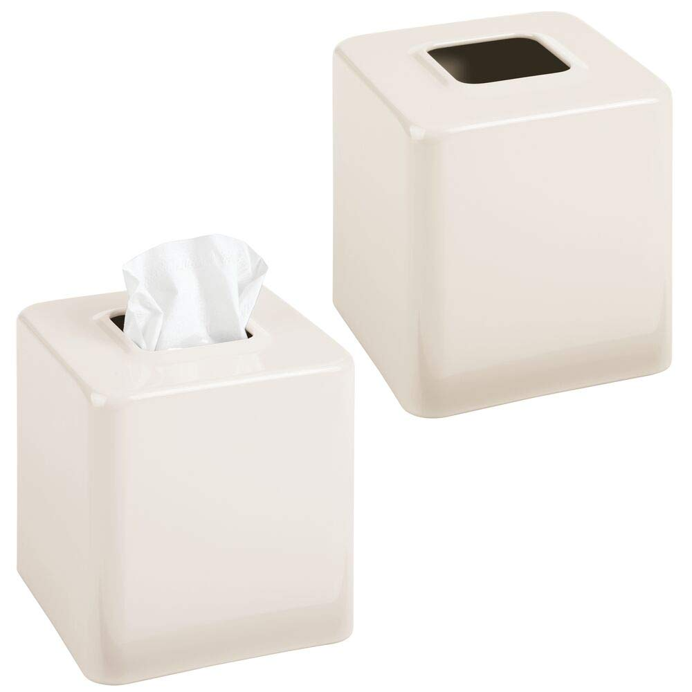 mDesign Modern Square Metal Paper Facial Tissue Box Cover Holder for Bathroom Vanity Countertops, Bedroom Dressers, Night Stands, Desks and Tables - 2 Pack - Cream