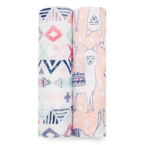 aden + anais Swaddle Blanket | Boutique Muslin Blankets for Girls & Boys | Baby Receiving Swaddles | Ideal Newborn & Infant Swaddling Set | Perfect Shower Gifts, 2 Pack, Trail Blooms