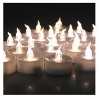 AGPTEK Lot 100 Battery Operated LED Warm White Tea Light Candle Flickering Flashing for Wedding Party Festival Decoration Occasions
