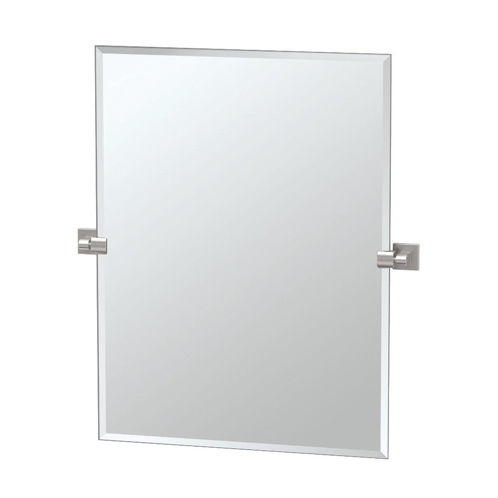 "Gatco 4079S Elevate Frameless Rectangle Mirror, Satin Nickel, 31.5""H"