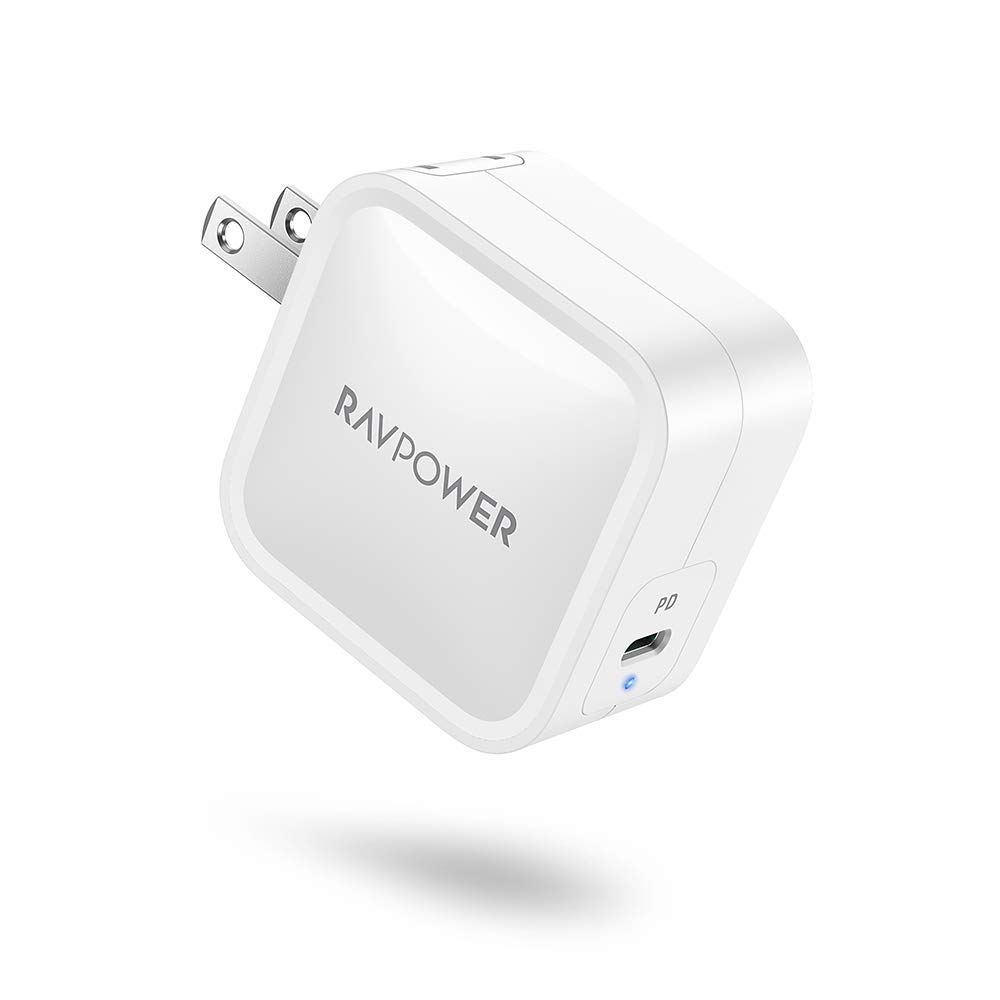 PD Charger, RAVPower 61W USB C Charger[GaN Tech] Type C Wall Charger Fast Charging Power Delivery Foldable Adapter, Compatible with MacBook Pro Air, iPad Pro 2020 Nintendo iPhone SE 11 Pro Max & More
