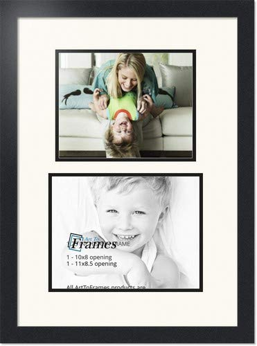 ArtToFrames Collage Photo Frame Double Mat with 1 - 8.5x11, 8x10 Openings and Satin Black Frame