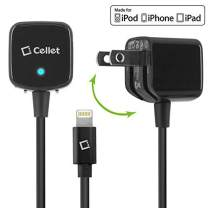 Cellet Folding Blade AC Wall Home and Travel Charger Compatible with iPhone 11 Pro Max Xs Max XR X 8 Plus 7 Plus 6S Plus 6 Plus iPad Pro Air Mini (Apple MFI Certified) Lightning Cable