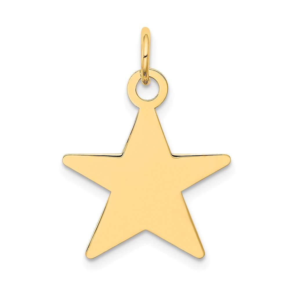 14k Yellow Gold Star Disc Pendant Charm Necklace Engravable Shaped Fine Mothers Day Jewelry For Women Gifts For Her