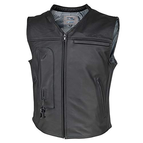 Helite CUSTOM Leather Motorcycle Vest - Black (Large)