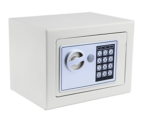 Himimi Security Digital Electronic Safe, Cabinet Safe with Keypad, Wall-Anchoring Lock Box for Home, Office or Travel (White)