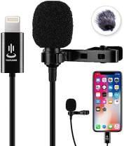 Microphone Professional for iPhone Grade Lavalier Lapel Omnidirectional Phone Audio Video Recording Lavalier Condenser Microphone for iPhone X Xr Xs max 8 8plus 7 7plus 6 6s 6plus 5 / iPad(6.0m)
