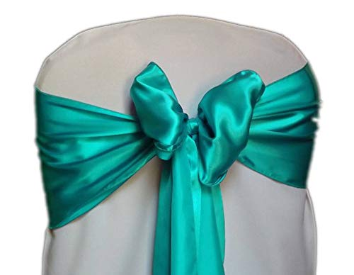 mds Pack of 50 Satin Chair Sashes Bow sash for Wedding and Events Supplies Party Decoration Chair Cover sash -Sea Green